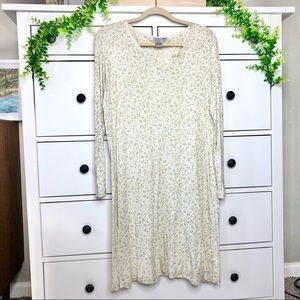 WinterSilks Ivory Silk Leaf Floral Nightgown Pajama Dress Christmas Holly Print